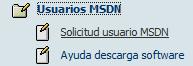 Acceso menu solicitud usuario MSDN
