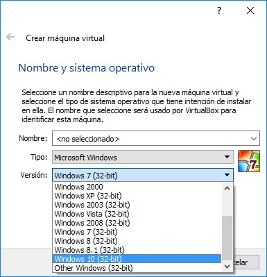 Virtualbox en Win10
