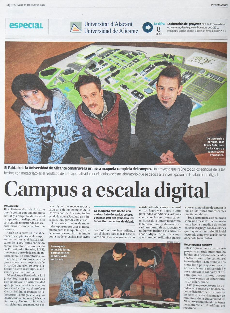 Noticia en diario Información de la maqueta de la Universidad de Alicante