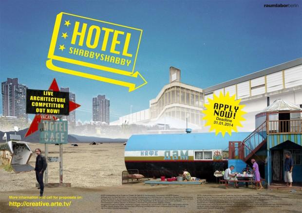 Poster del concurso con imagen de un hotelshabbyshabby