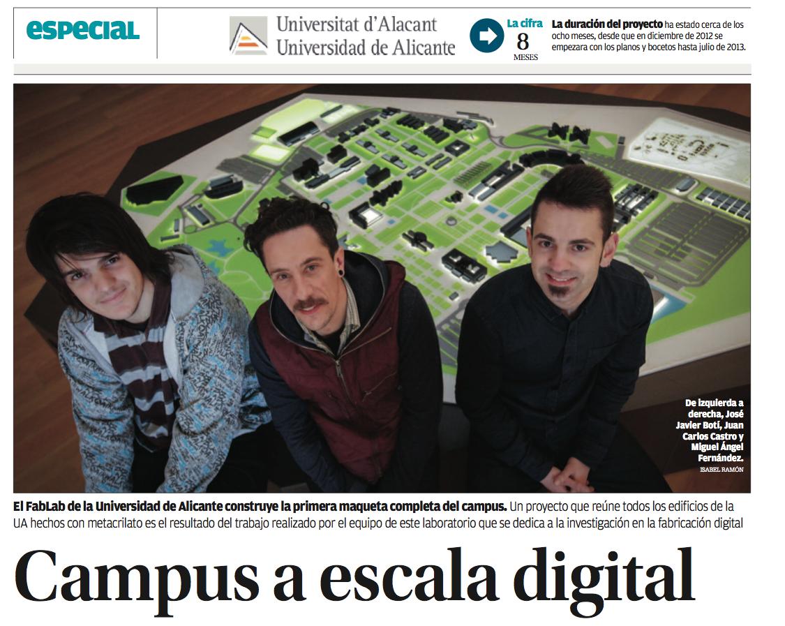 Maqueta de la Universidad de Alicante contruida por FabLabALC