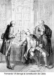 Fernando VII derogant la Constitució de Cadis