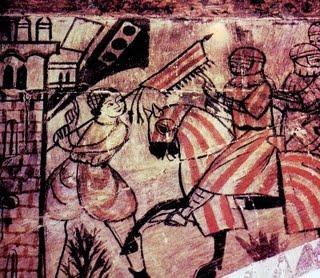 Escena de la toma de Valencia por Jaime I. Pintura mural, Alcañiz