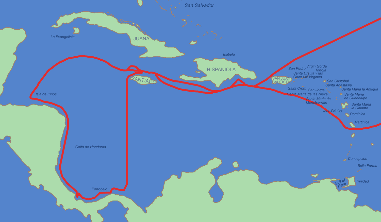 Cuarto viaje de col n navegacion transoce nica for Cuarto viaje de colon