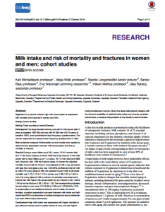 milk intake and risk of mortality