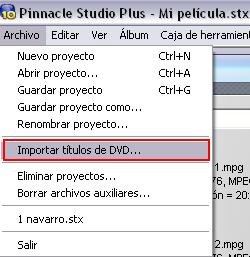 """Menú """"Archivo > Importar títulos de DVD"""""""