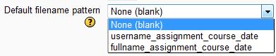 Patrón del nombre de archivo por defecto