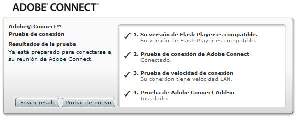 Test de conexión de Adobe Connect