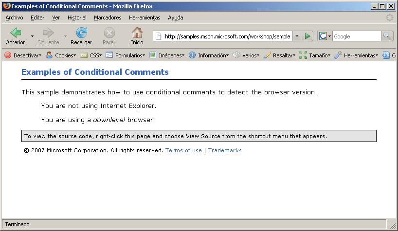 Comentarios condicionales en Firefox