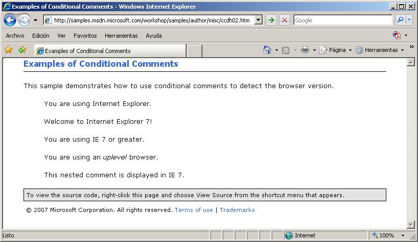 Comentarios condicionales en Internet Explorer