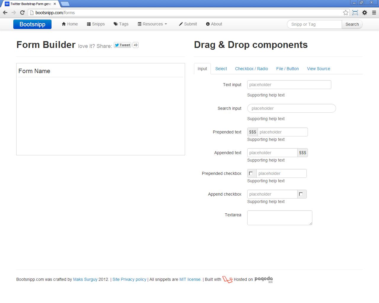 Generador de formularios para Bootstrap | Programación en Internet