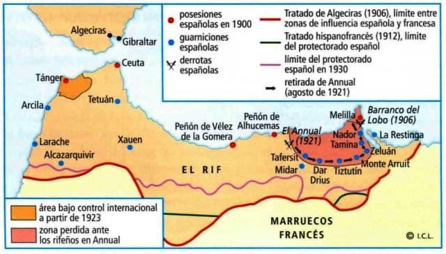 Resultado de imagen de protectorado español en marruecos mapa