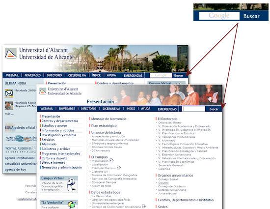 Búsqueda con Google en el web de la UA