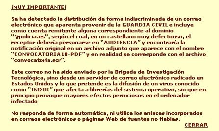 Alerta publicada en www.policia.es