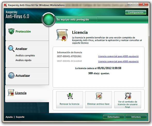 Renovación de licencia del antivirus Kaspersky