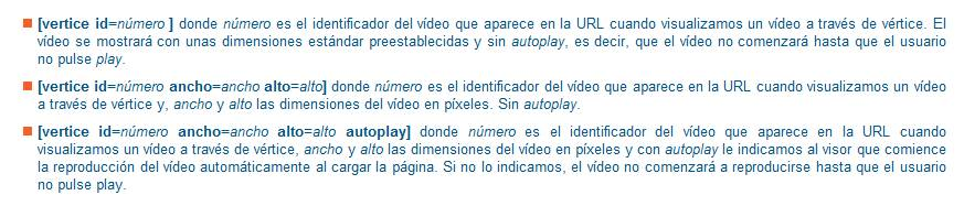 Integración de vídeos vértice en blogsUA