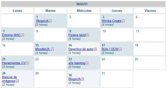 Sesiones formativas programadas en la FragUA