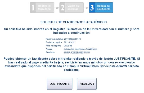 Certificado académico personal electrónico