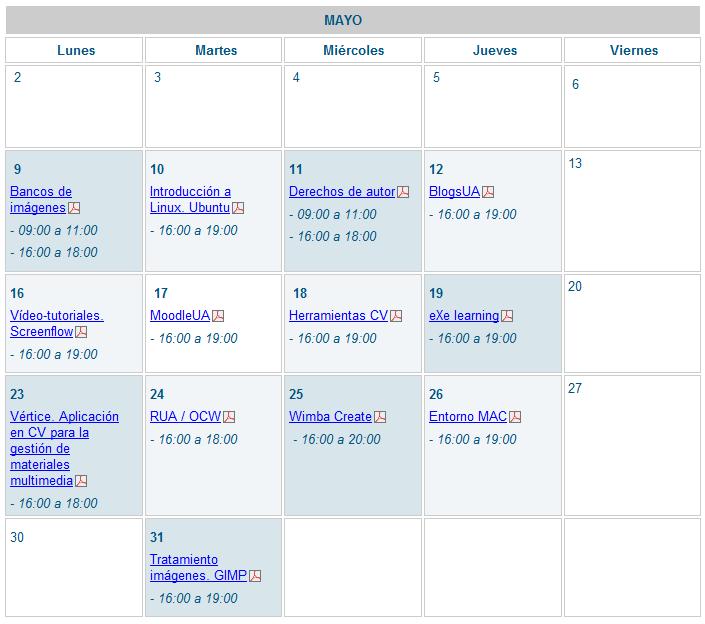 Sesiones formativas para el profesorado en mayo