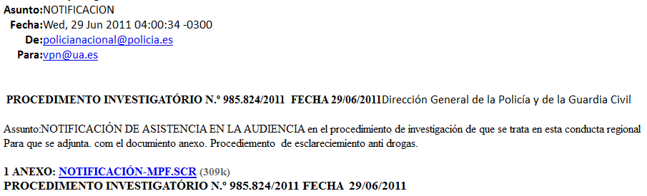 Supuesta notificación de la Policía Nacional