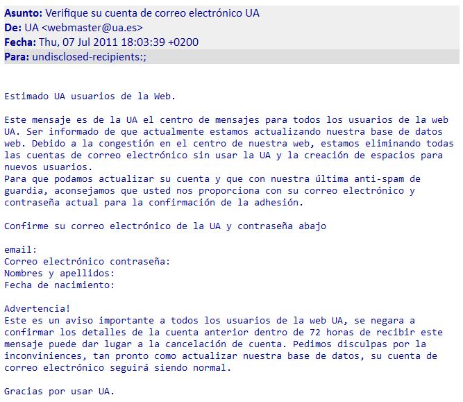 Verifique su cuenta de correo electrónico UA-Ejemplo de ataque