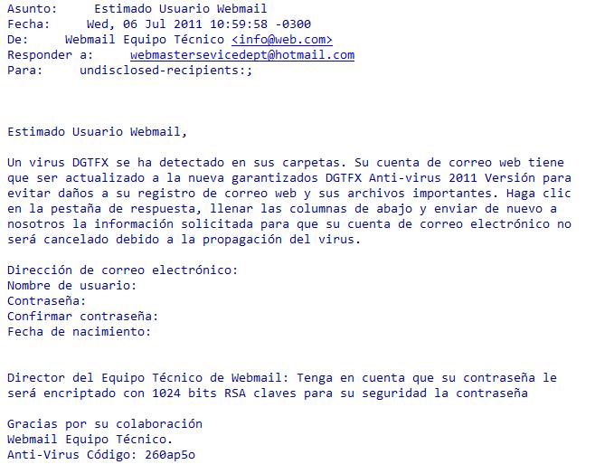 Estimado usuario Webmail-Ejemplo de ataque