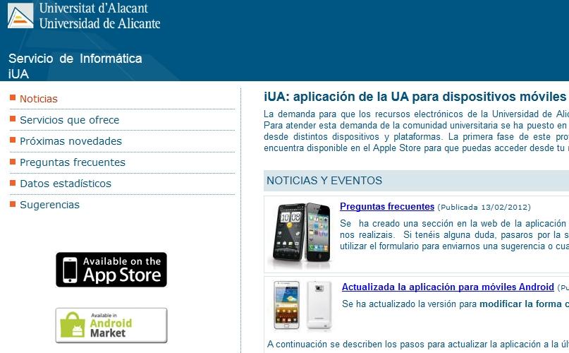 iUA, aplicación para móviles