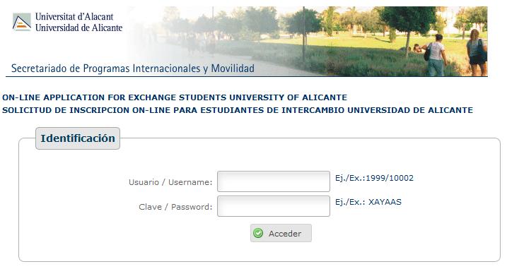 Procedimiento de solicitud y admisión de alumnos Erasmus acogidos en la UA