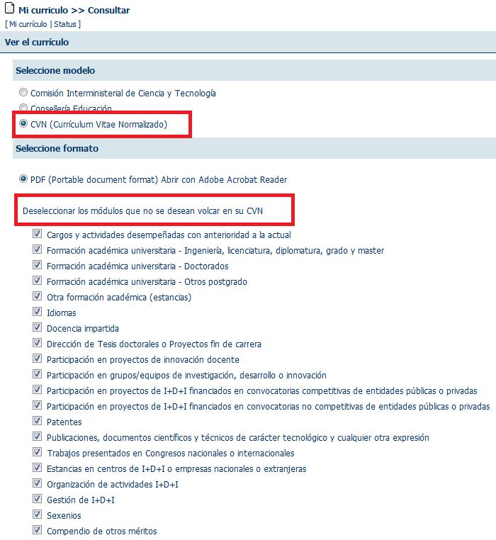 Personalización por módulos del CVN