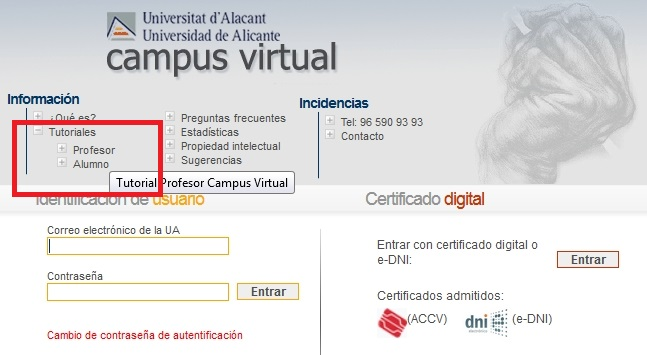 Tutoriales interactivos en la página de entrada a Campus Virtual