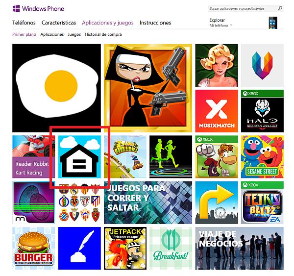 UAapps Alojamiento en la página principal de Windows Phone Store