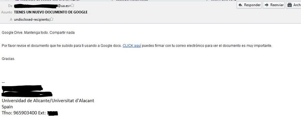 Phising utilizando Google Docs como señuelo