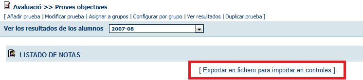 Exportar notas en Pruebas objetivas