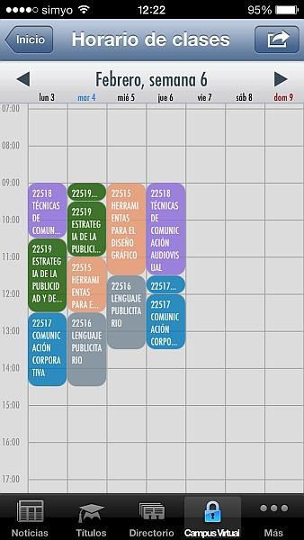 Horario del alumnado en iPhone