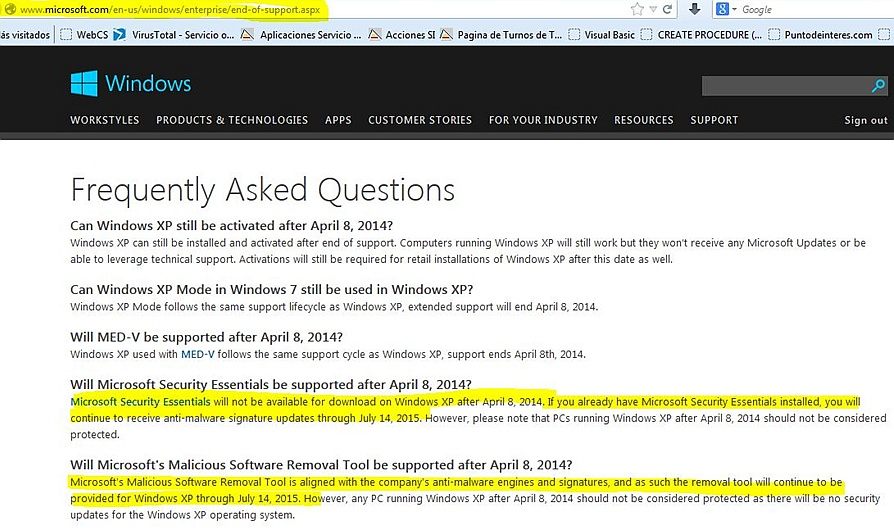 Frequently Asked Questions de Windows