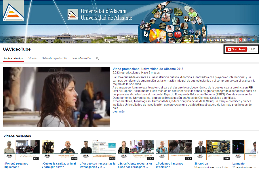 Canal UA en Youtube