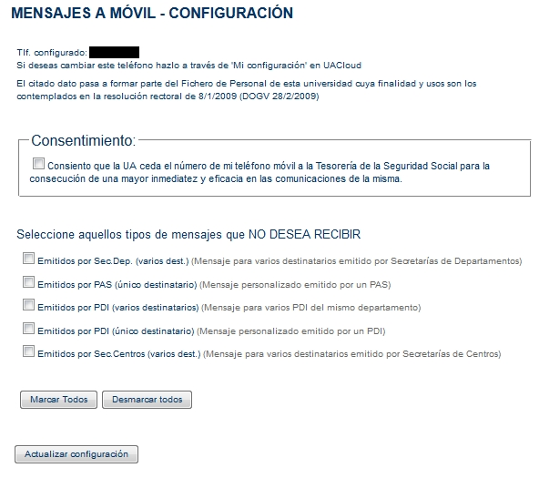 Configuración de SMS en CV Otros servicios