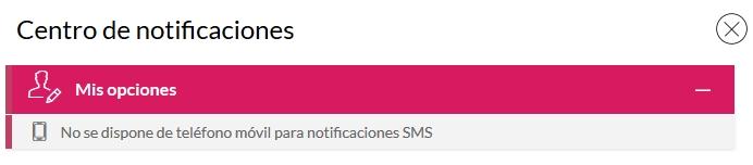 Notificación de falta de móvil para SMS