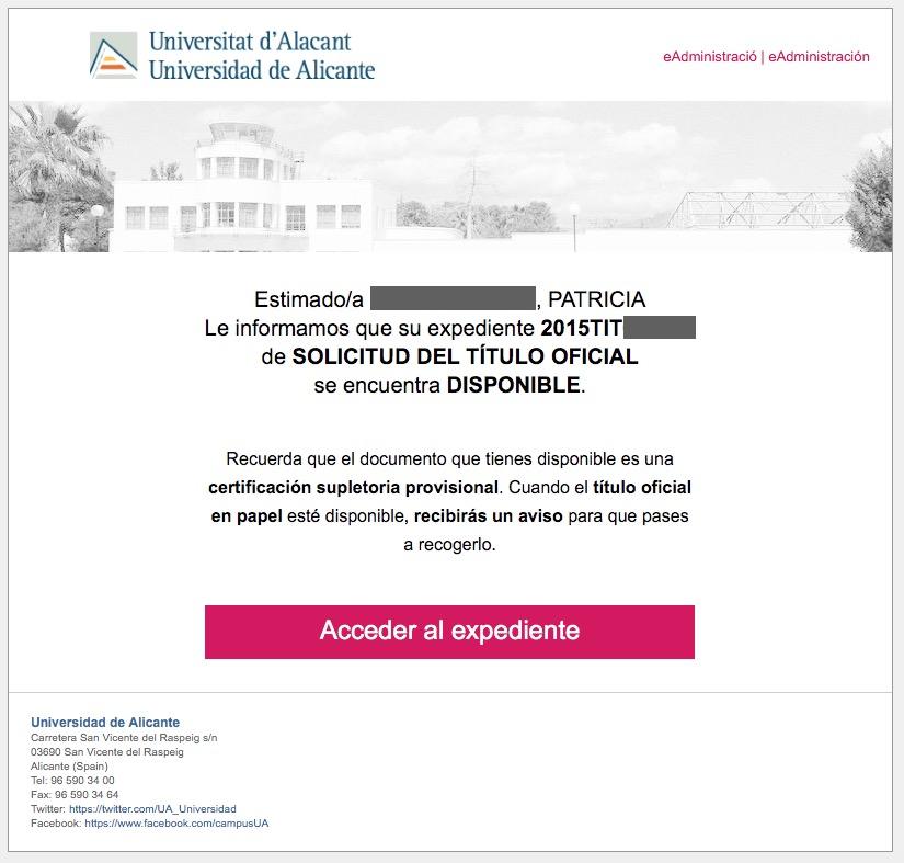 Aviso por correo de disponibilidad de la certificación supletoria provisional