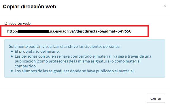 Dirección web generada