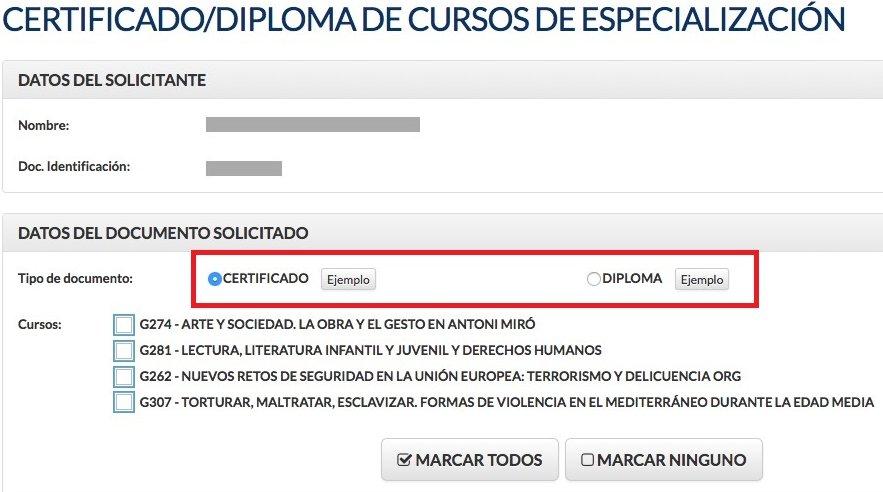 Solicitud de certificado o diploma de cursos de especialización