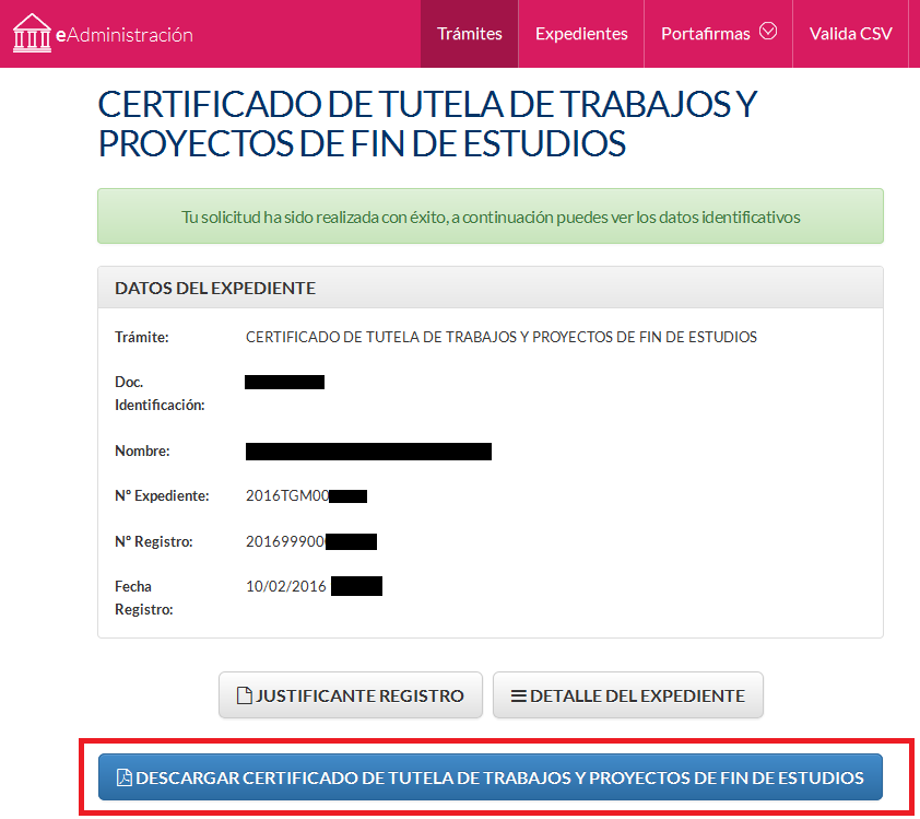 Certificado generado - datos del expediente