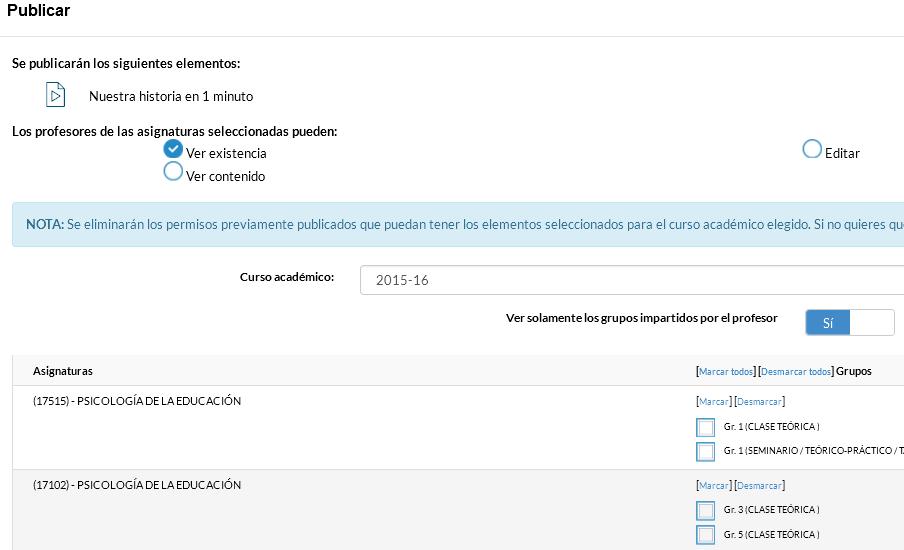 Publicación de material docente en UADrive