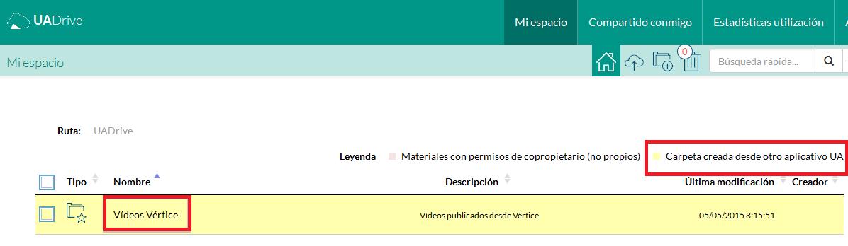 """Carpeta de """"Vídeos Vértice"""" en UADrive"""