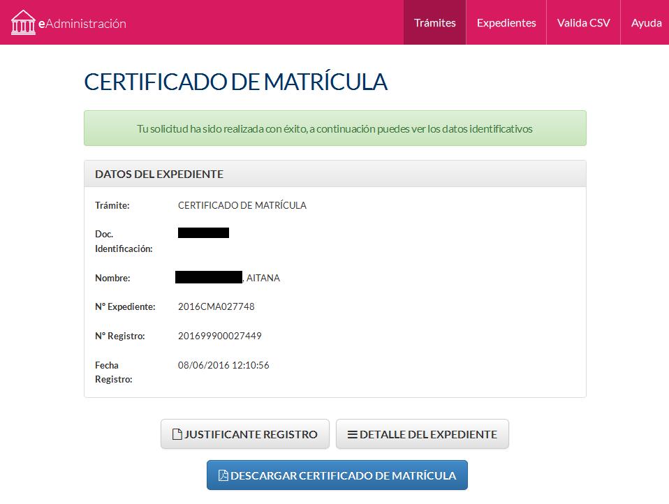Solicitud de certificado matrícula