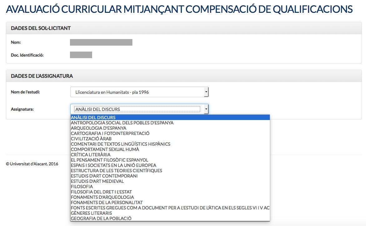 Pantalla de solicitud de compensación de calificaciones