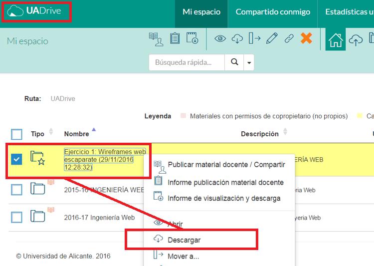 Descarga conjunta de todos los documentos desde UADrive
