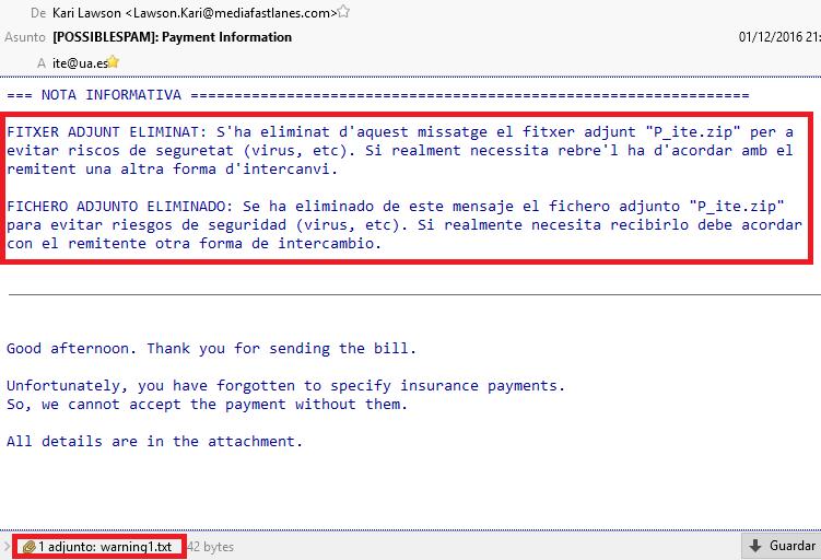 Mensaje de aviso de que ha sido eliminado un fichero adjunto