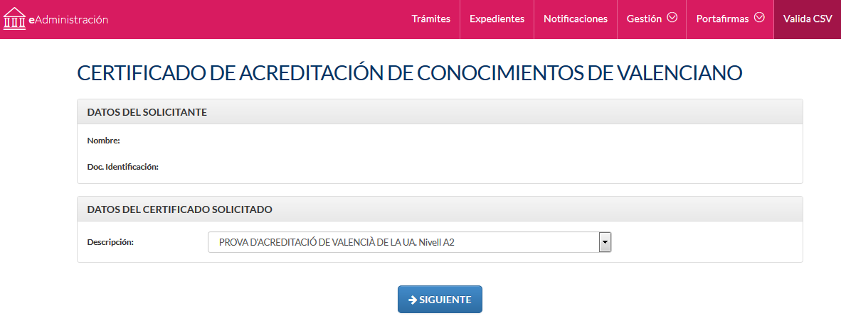 Certificado de acreditación de conocimientos de valenciano