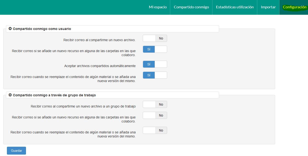 Opciones de configuración